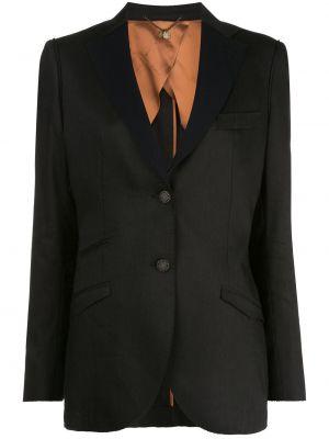 Шерстяной черный пиджак с карманами на пуговицах Maurizio Miri