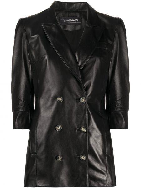 Приталенный кожаный пиджак двубортный Simonetta Ravizza