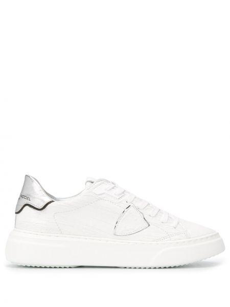 Кожаные кроссовки белый с логотипом Philippe Model Paris