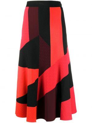 Красная с завышенной талией юбка миди из вискозы со вставками Alexander Mcqueen