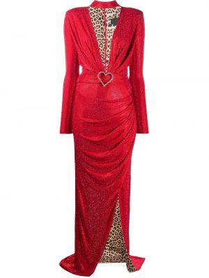 Облегающее красное платье макси с вырезом Philipp Plein