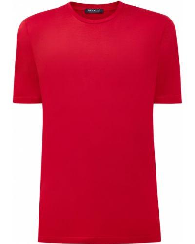 Хлопковая красная с рукавами футболка Bertolo Cashmere