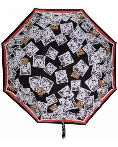 Czarny parasol w paski srebrny Moschino