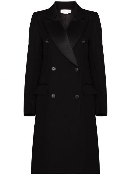 Шерстяное черное пальто двубортное Victoria Beckham