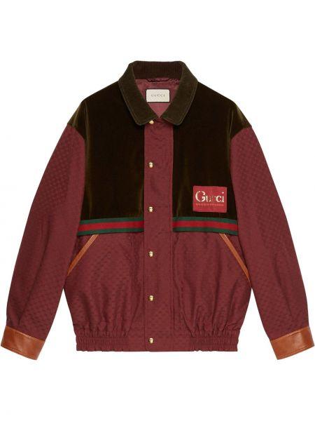 Czerwona długa kurtka skórzana z haftem Gucci