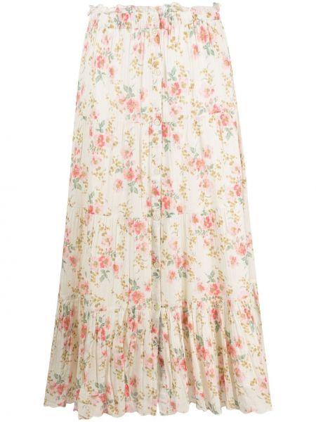 Хлопковая белая юбка в цветочный принт The Great.