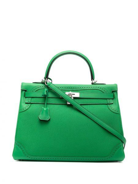 Кожаная зеленая сумка на плечо винтажная Hermès