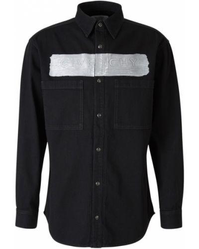 Czarna koszula jeansowa bawełniana zapinane na guziki Givenchy