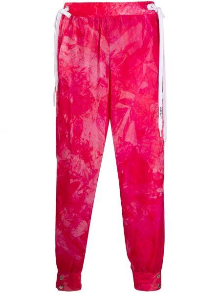 Розовые спортивные брюки с воротником с завязками с манжетами Khrisjoy
