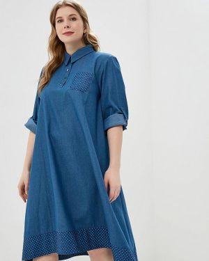 Платье платье-рубашка синее Aelite