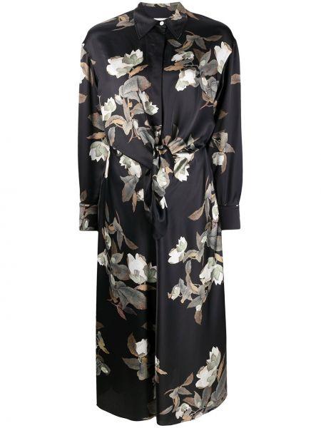 С рукавами черное платье миди в цветочный принт Vince.