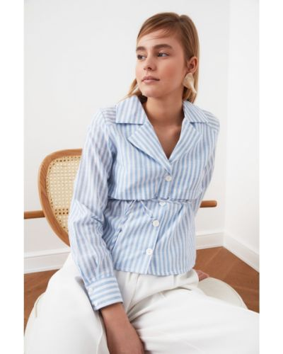 Niebieska koszula bawełniana z paskiem Trendyol