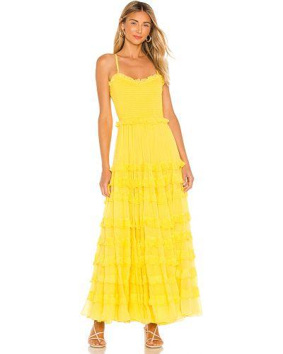 Żółty długo sukienka prążkowany na paskach z wiskozy Majorelle