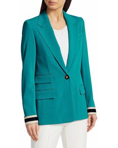 Зеленая длинная куртка с воротником с нашивками Escada
