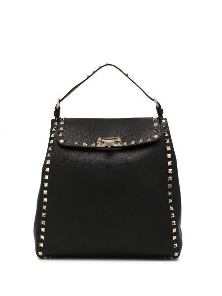 Skórzany plecak czarny złoto Valentino