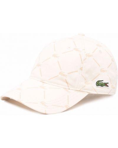 Beżowa czapka bawełniana z printem Lacoste Live