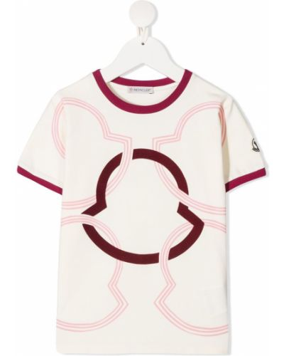 Хлопковая белая футболка с короткими рукавами Moncler Kids
