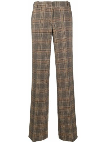 Шерстяные коричневые прямые брюки с потайной застежкой Drumohr