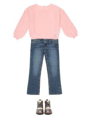 Хлопковые синие джинсы стрейч Bonpoint