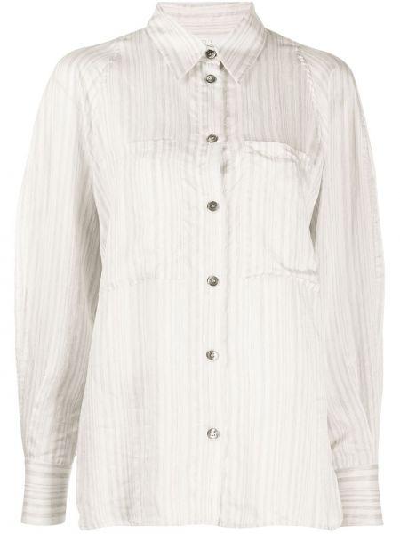 Шелковая рубашка на пуговицах с вырезом с карманами Tela