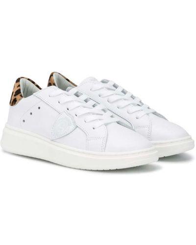Кожаные белые кеды на шнуровке Philippe Model Kids