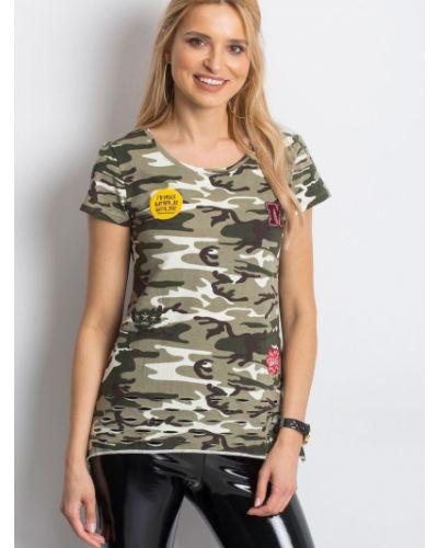 Beżowy t-shirt bawełniany miejski Fashionhunters