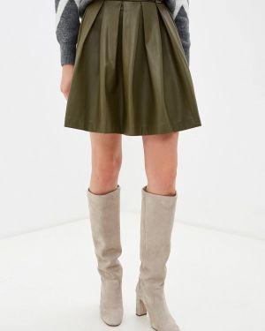 Кожаная юбка хаки Love Republic