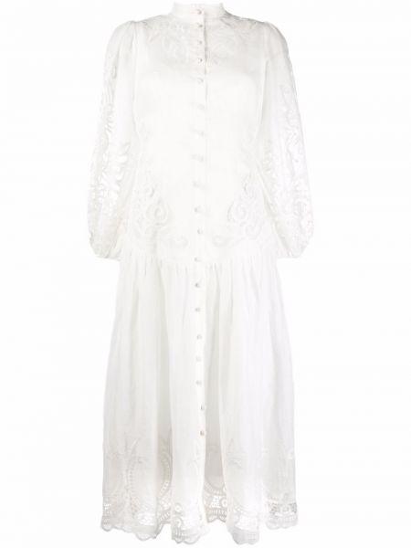 Кружевное платье миди - белое Zimmermann