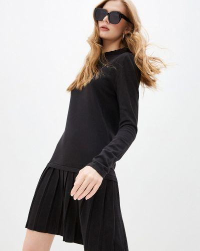 Трикотажное вязаное черное джинсовое платье Trussardi Jeans
