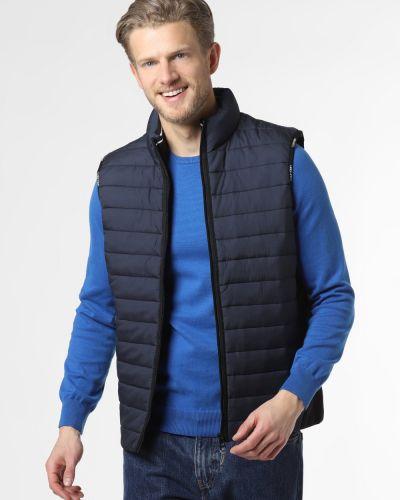 Prążkowana niebieska kamizelka pikowana Calvin Klein