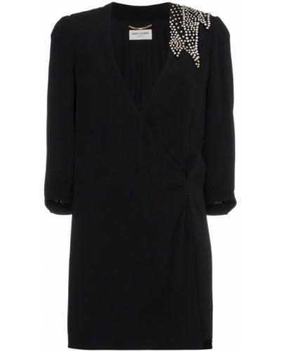 Платье мини с запахом с V-образным вырезом Saint Laurent