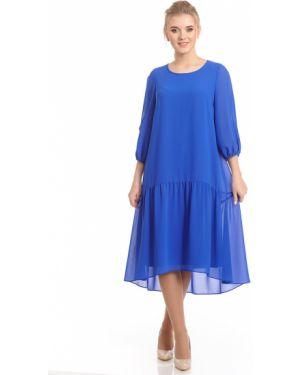 Шифоновое плиссированное платье миди с вырезом с подкладкой Merlis