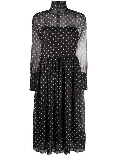 Czarna sukienka midi w grochy z długimi rękawami Redvalentino