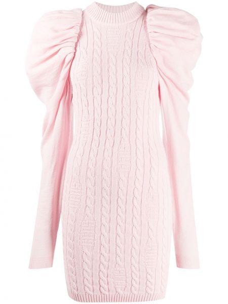 С рукавами вязаное розовое платье макси Gcds