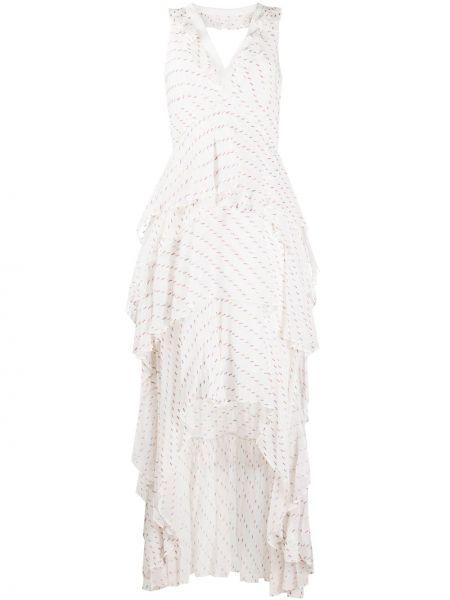 Асимметричное бежевое платье с V-образным вырезом без рукавов Dvf Diane Von Furstenberg