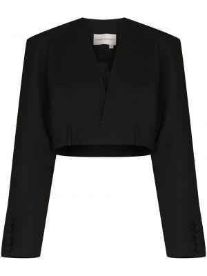 Черный удлиненный пиджак на пуговицах с вырезом Aleksandre Akhalkatsishvili