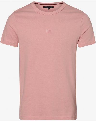 Różowy t-shirt z haftem płaska podeszwa Tommy Hilfiger