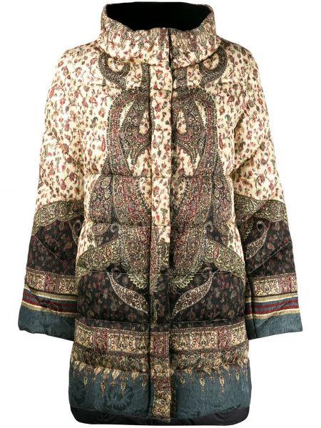 Нейлоновый длинное пальто с воротником с перьями Etro
