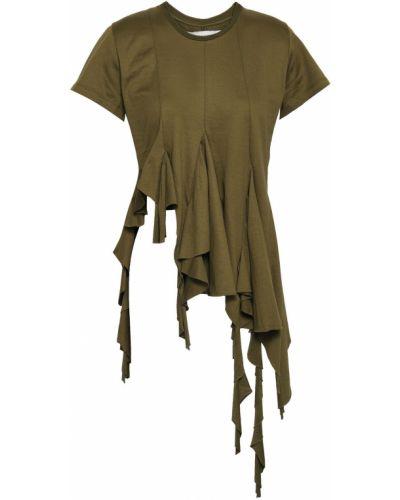 Prążkowany zielony top bawełniany Marques Almeida