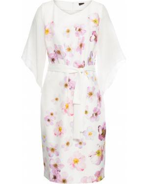 Платье мини с цветочным принтом с поясом Bonprix