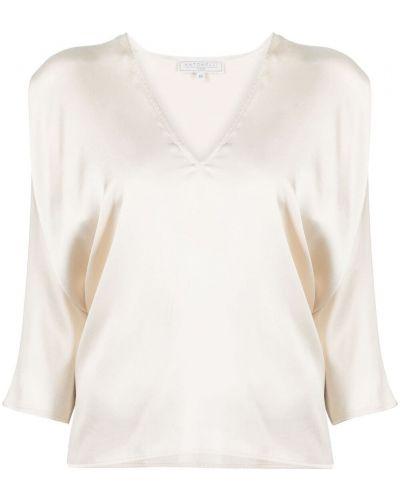 Beżowa bluzka z jedwabiu z dekoltem w serek Antonelli