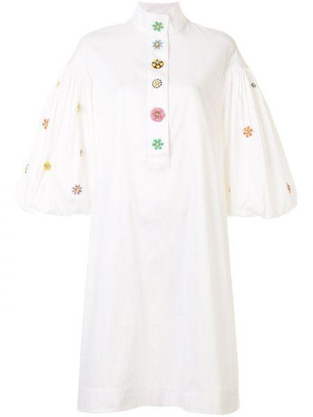 Белое прямое платье на пуговицах с воротником Romance Was Born