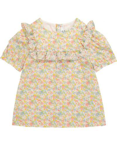 Ватная хлопковая кружевная блузка Bonpoint
