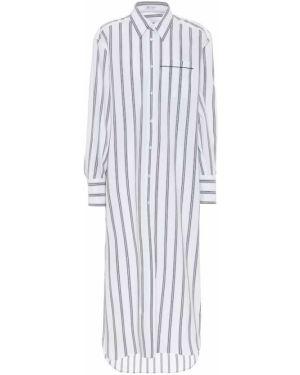 Хлопковое белое платье-рубашка Brunello Cucinelli