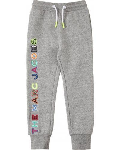 Хлопковые серые спортивные брюки эластичные Little Marc Jacobs
