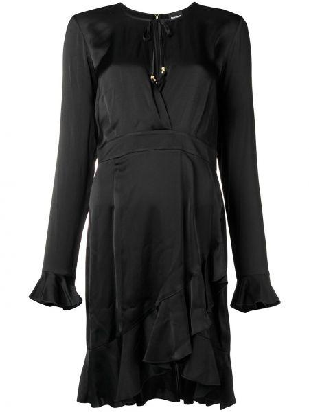 Прямое черное вечернее платье с оборками Just Cavalli