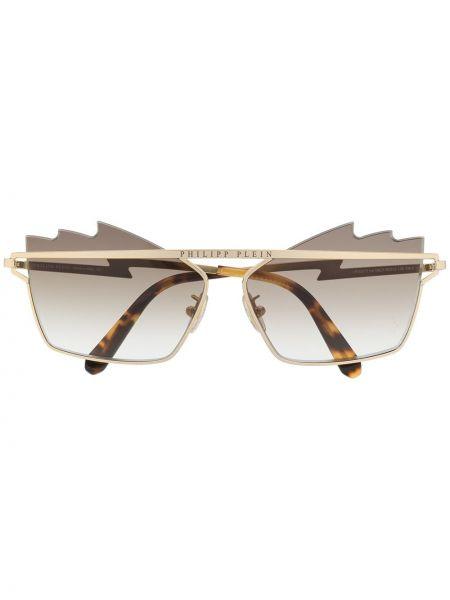 Złote okulary khaki Philipp Plein