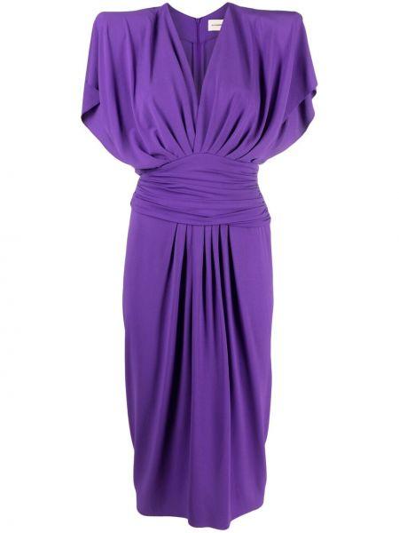 Fioletowa sukienka midi z wiskozy krótki rękaw Alexandre Vauthier