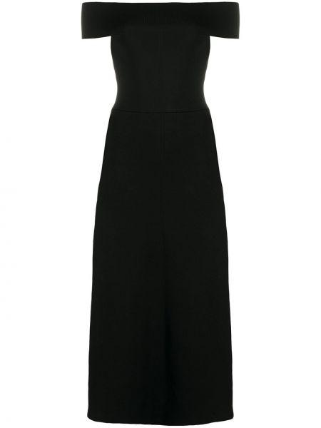 Черное платье макси с разрезом эластичное с открытыми плечами Victoria Beckham