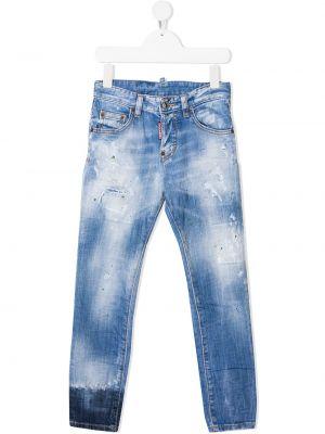 Кожаные синие джинсы на пуговицах Dsquared2 Kids